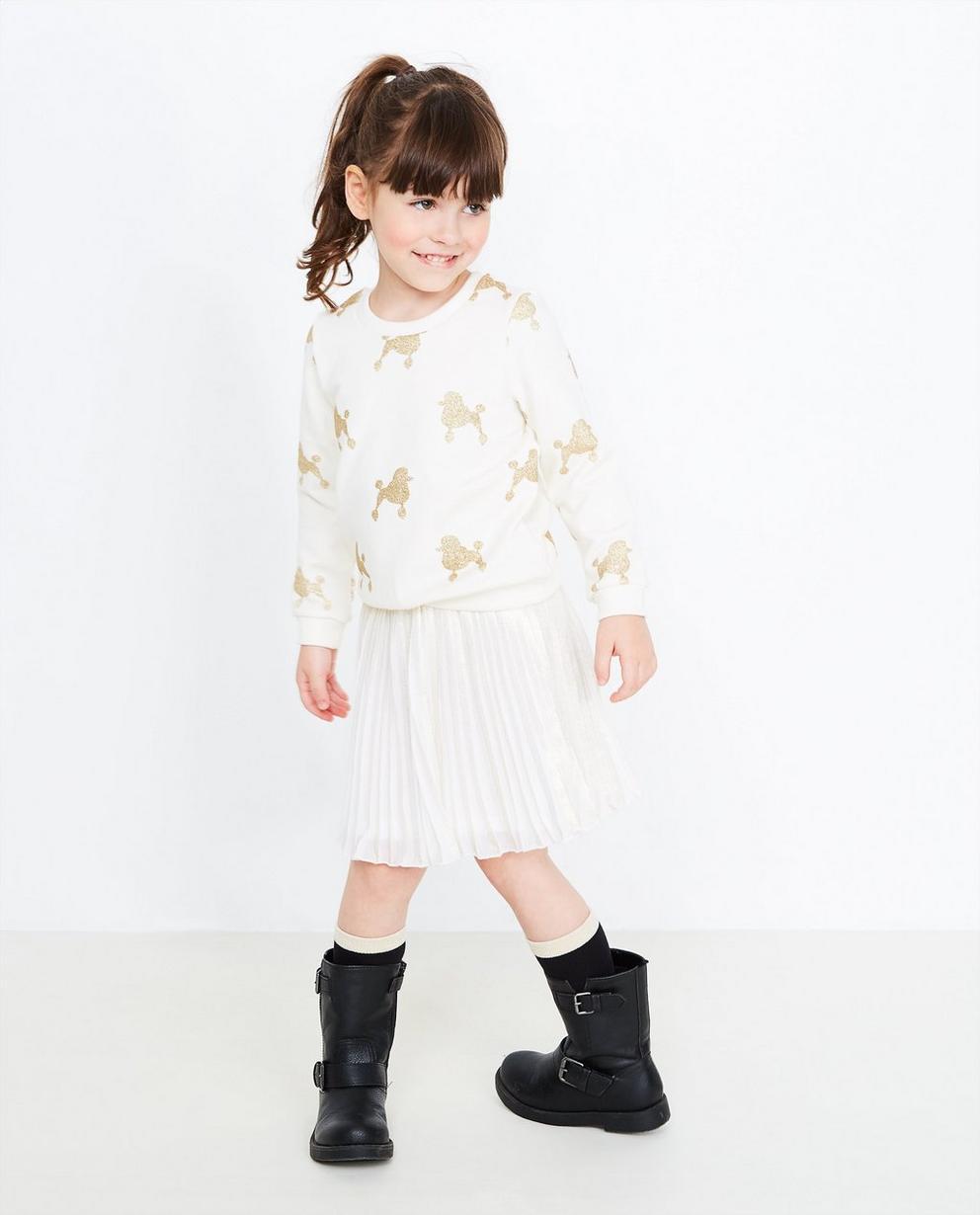 Roomwitte sweater - met glitterprint - JBC